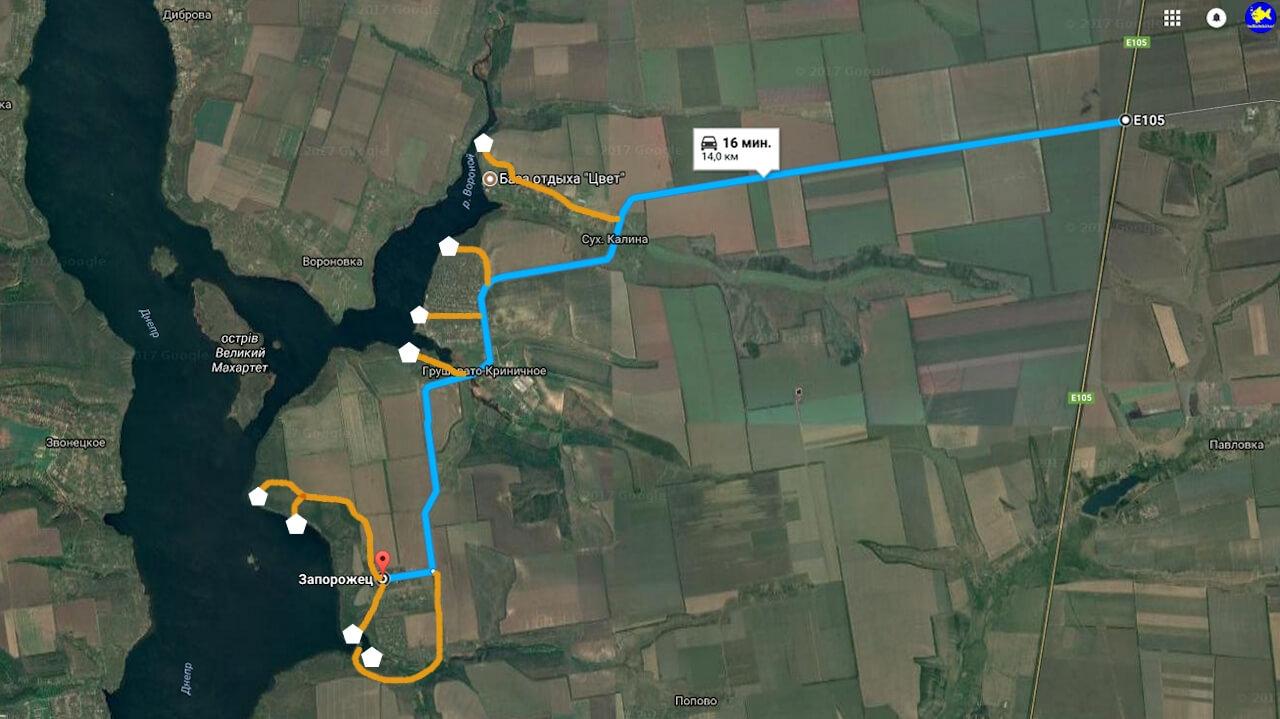 Карта подъезда на Днепр Сухая калина