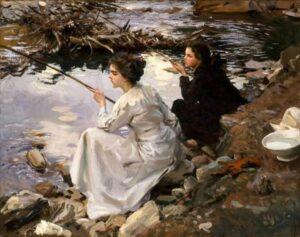 Джон Сингер Сарджент, Две девушки на рыбалке