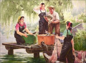 Картина На рыбалке от Kim Sok Jin, 1998 год