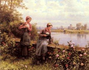 Maria And Madeleine Fishing, by Daniel Ridgway Knight
