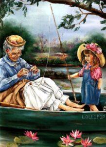 Бабушка с внучкой на рыбалке