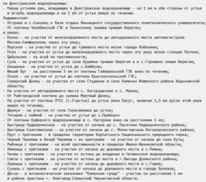 Участки внутренних водоемов Украины, на которых запрещен лов