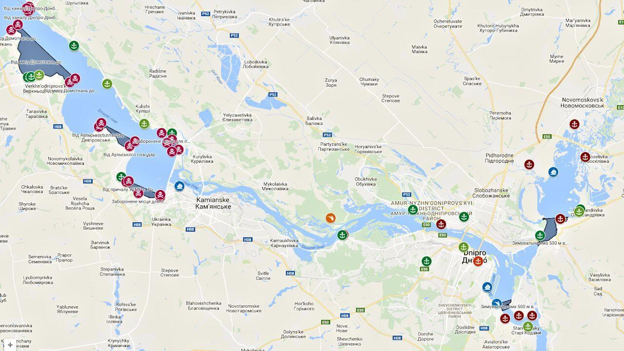 Нерестилища и зимовальные ямы интерактивная карта